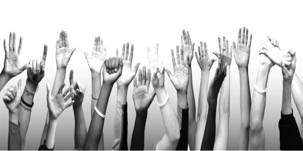 Raised hands-BW