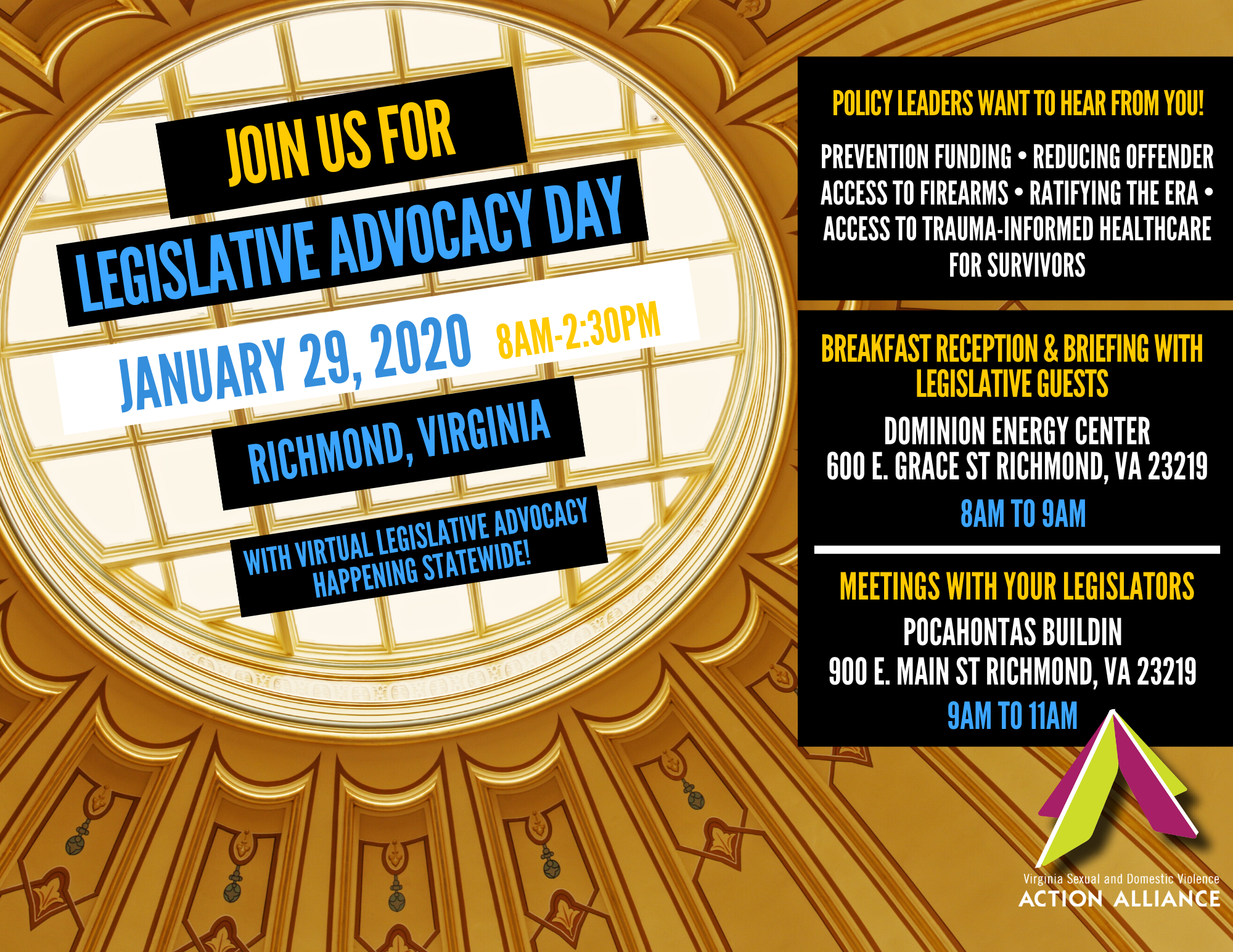 """Looking up at a skylight dome of an ornately decorated hall overlaid with text: """"Join us for Legislative Advocacy Day, January 29, 2020, 8am-2:30pm, Richmond, VA, with virtual legislative advocacy happening statewide!"""""""