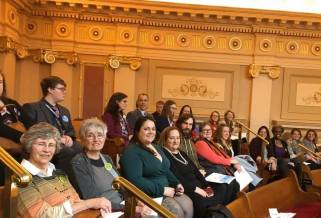 Group of people sitting in the gallery of the Virginia General Assembly Senate.